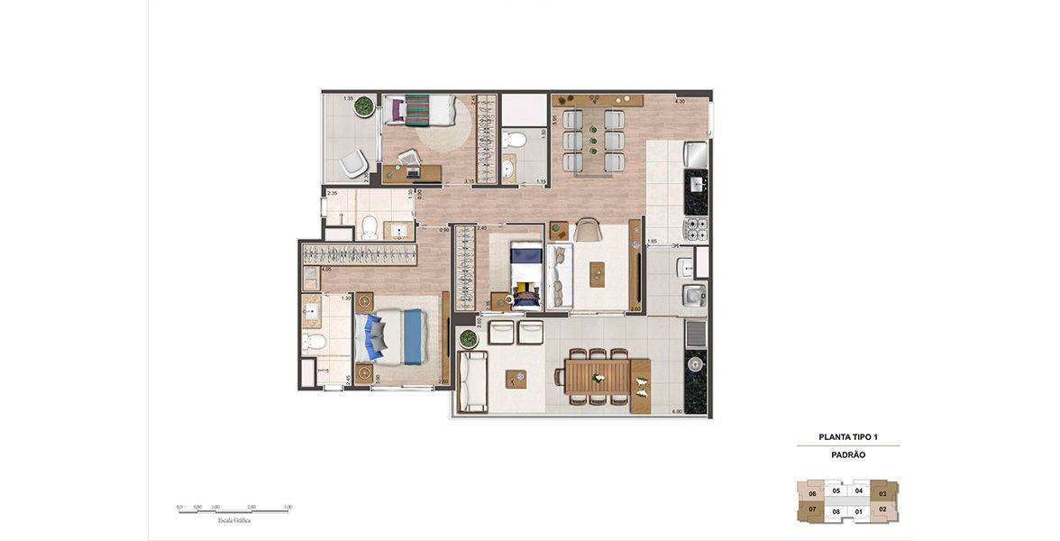Planta do Living Near Pacaembú. floorplan