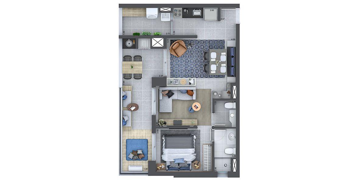 Planta do West Side Barra Funda. floorplan