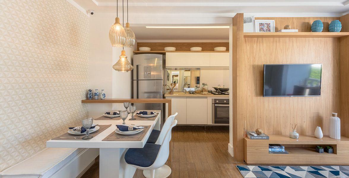 LIVING E COZINHA do apto de 48 m²