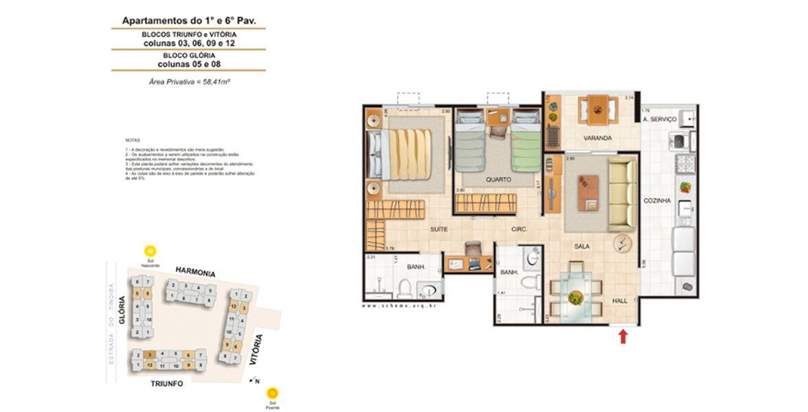 Planta do Alegria Clube Residencial. floorplan