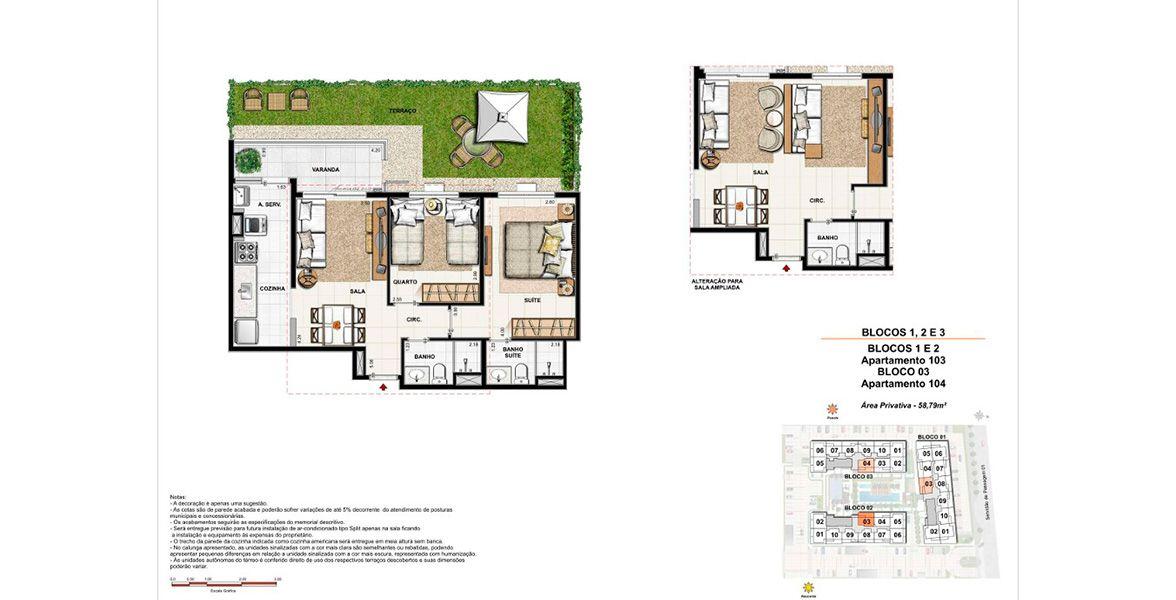 Planta do Luar do Pontal Residencial. floorplan