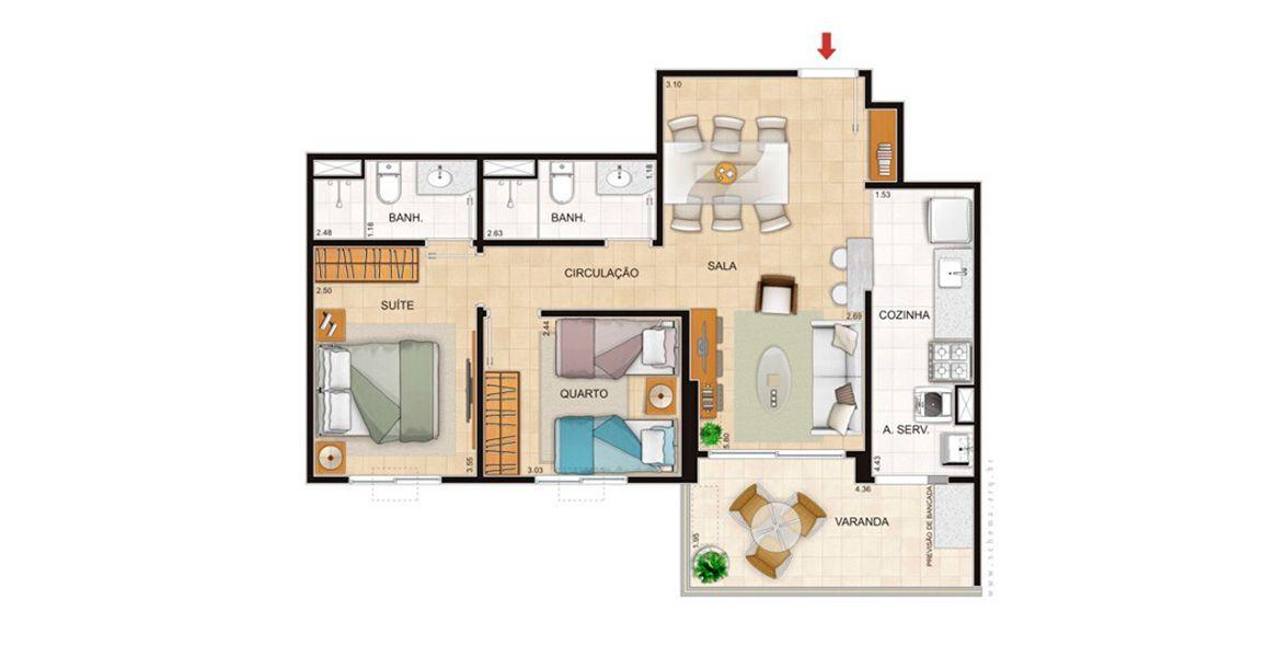 Planta do Viverde Residencial. floorplan