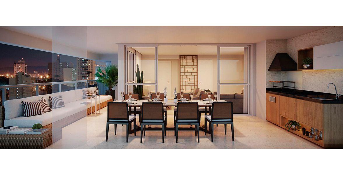 """TERRAÇO do apto de 170 m² em """"L"""" com mais de 7 metros de frente, proporcionando ampla área social, com sofá e mesa com capacidade para 8 pessoas. Integra-se ao living."""
