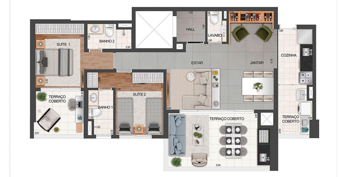 100 M² - 2 SUÍTES. Apartamentos na Vl. Clementino, com 2 suítes, sendo uma confortável suíte para o casal com terraço íntimo. Sala ampliada se complementa com o amplo terraço gourmet em L com mais de 5 metros de frente.