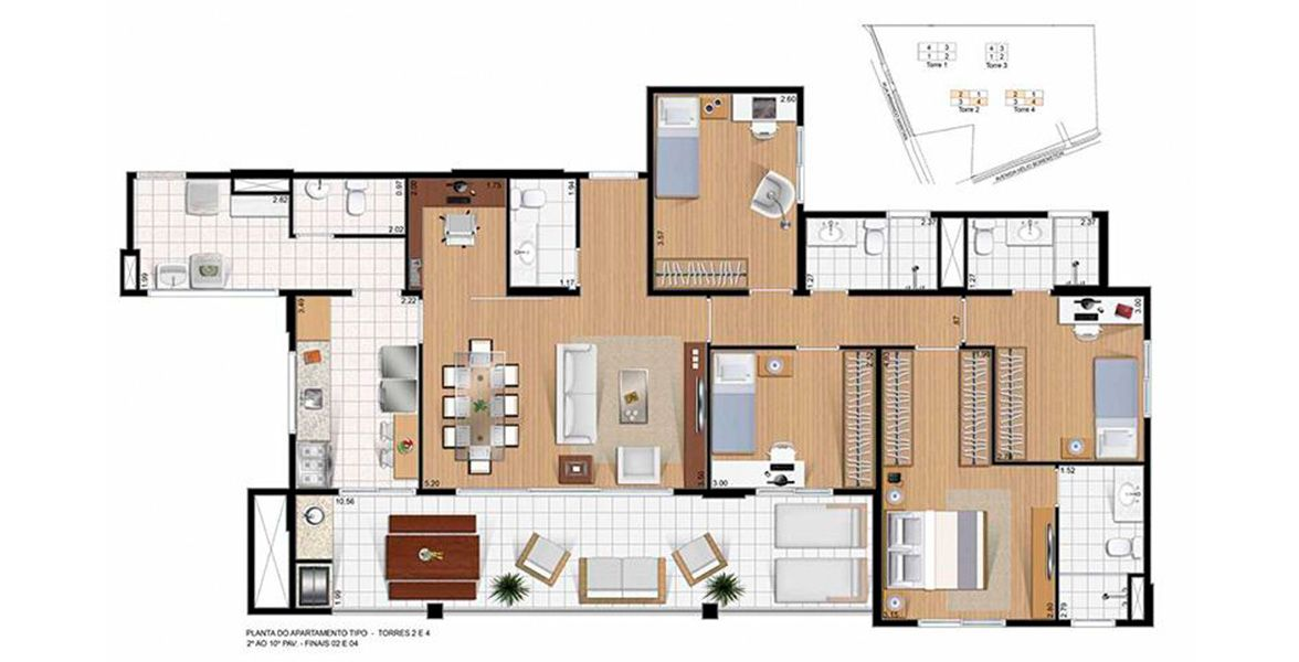 Planta do Helbor Reserva do Itapety. floorplan