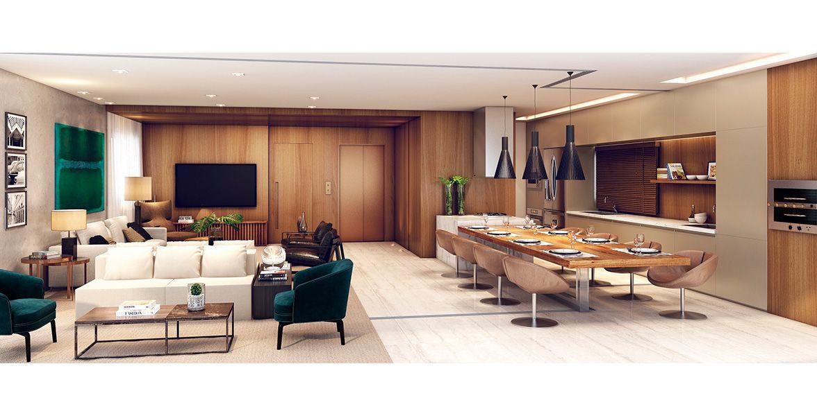 LIVING do apto de 170 m² integrado à cozinha americana gourmet. Living com infra para ar-condicionado e tratamento acústico no contrapiso.