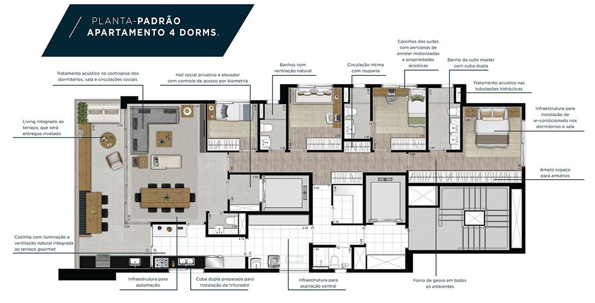170 M² - 4 DORMITÓRIOS, SENDO 2 SUÍTES. Apartamento com hall privativo, excelente living integrado com piso nivelado ao amplo terraço, proporcionando ampla área social. Destaque para circulação íntima com rouparia e suíte master com cuba dupla.