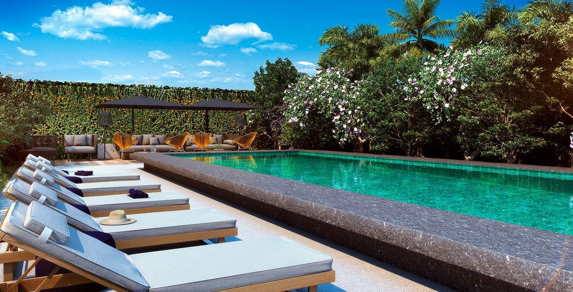 PISCINA ADULTO climatizada integrada ao lounge e solário com vista para o Jardim Contemplativo.