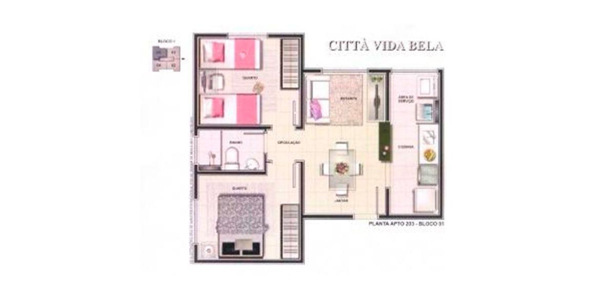 Planta do Citta Vida Bela. floorplan
