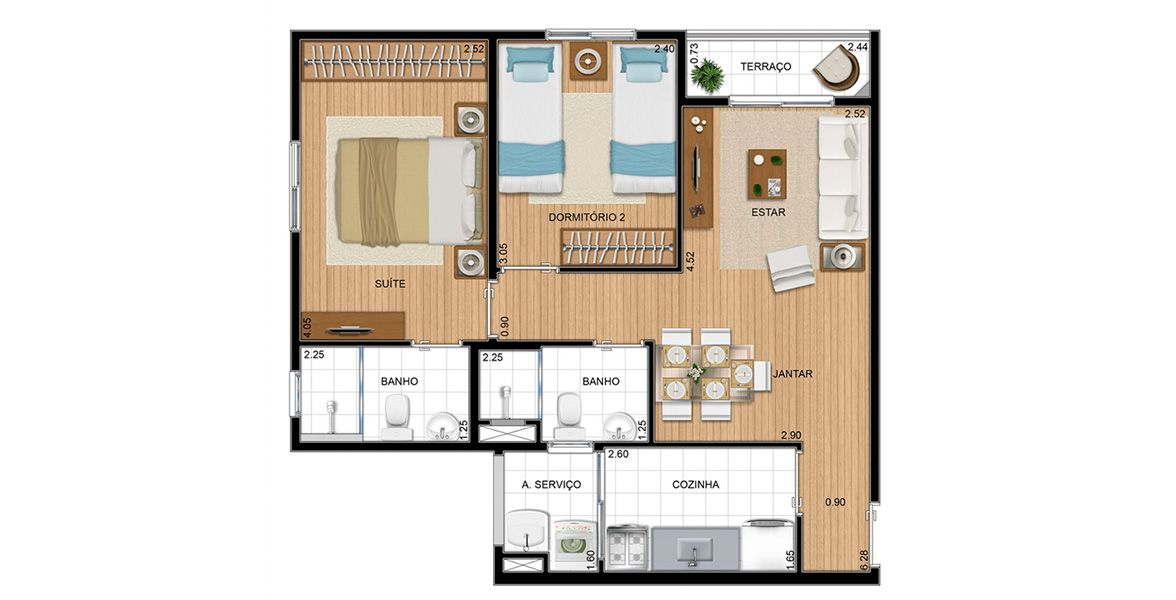 Planta do La Vita Residencial. floorplan