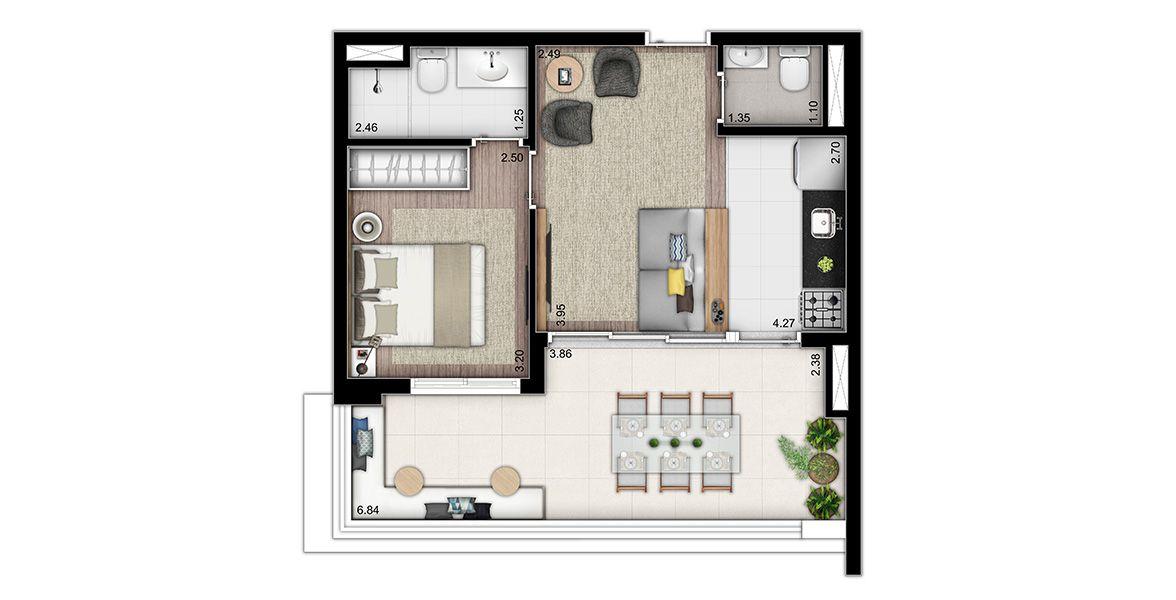 50 M² - 1 SUÍTE. Apartamento na Vila Mariana com cozinha americana e lavabo, terraço entregue com kit para bancada, cuba e metais. Infra para ar condicionado, ponto de tv e grill.