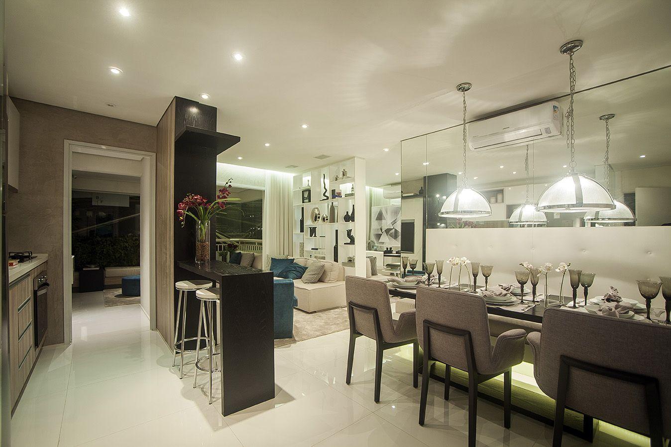 LIVING do apto de 79 m² do Tendência Barra Funda