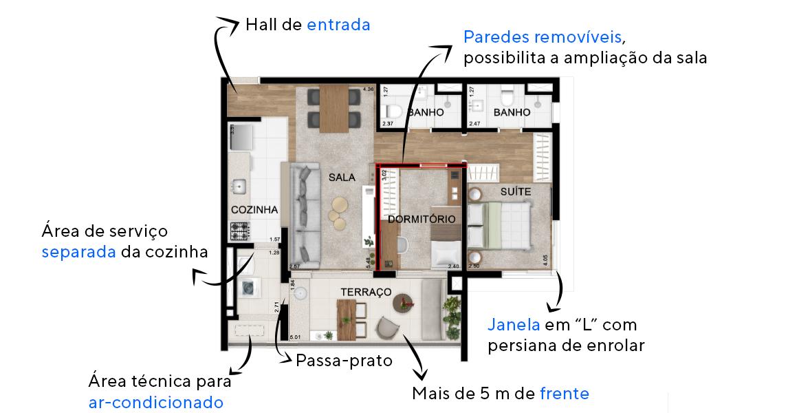 Planta do Chez Vous Moema. floorplan