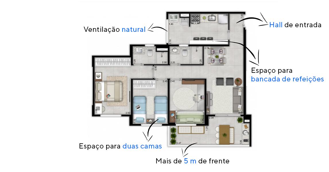 76 M² - 3 DORMITÓRIOS, SENDO 1 SUÍTE. Apartamentos em Macaé com flexibilidade para duas camas nos dormitórios. Destaque para a área de serviço e para os banheiros, que possuem janelas para ventilação natural.