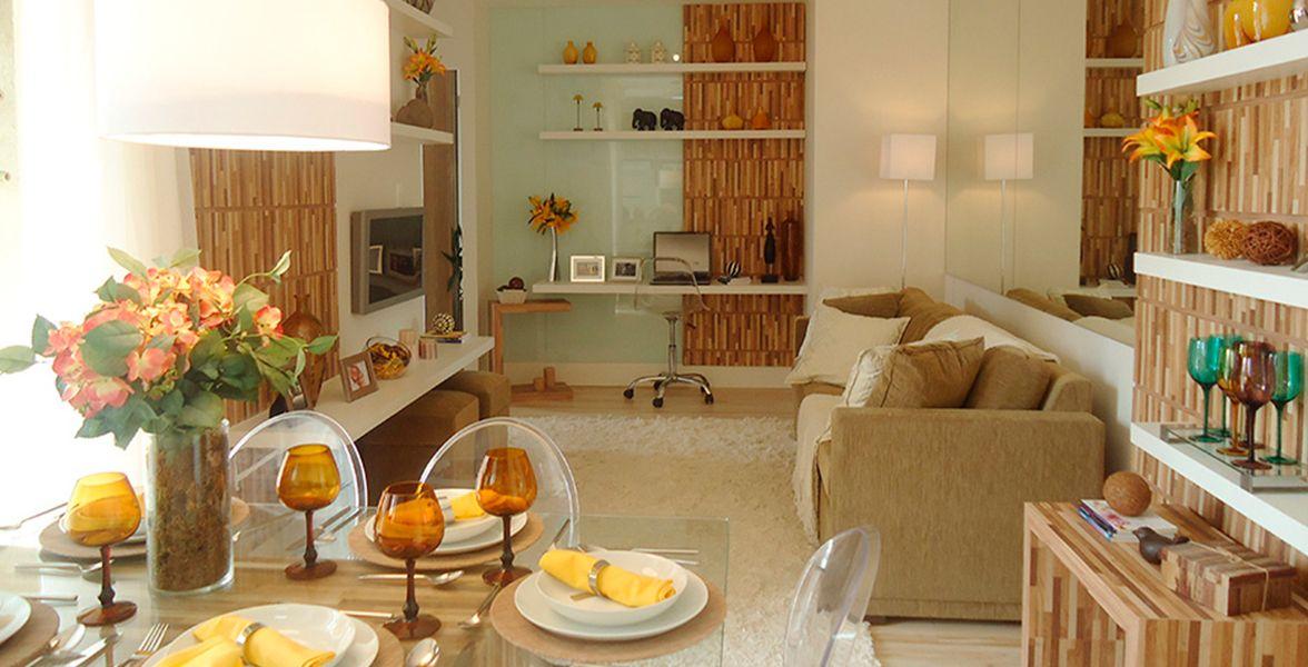 LIVING do apto decorado de 47 m² do Paradiso Freguesia