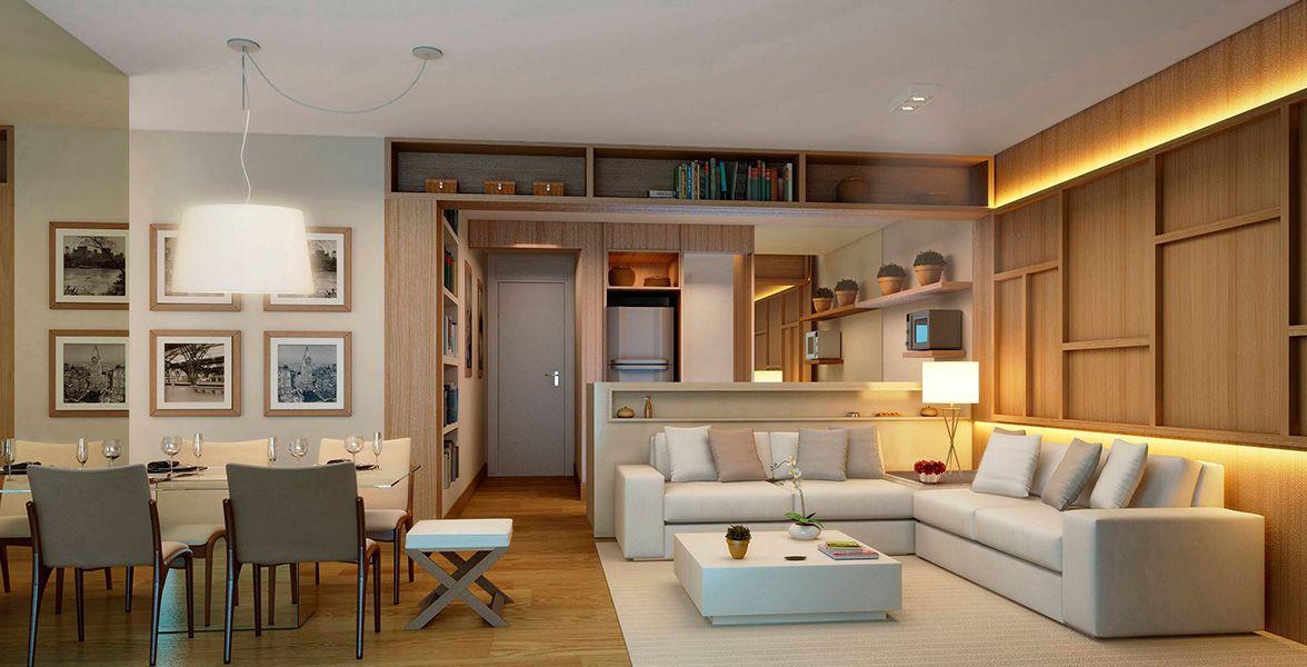 LIVING do apto de 73 m² do Hub Home