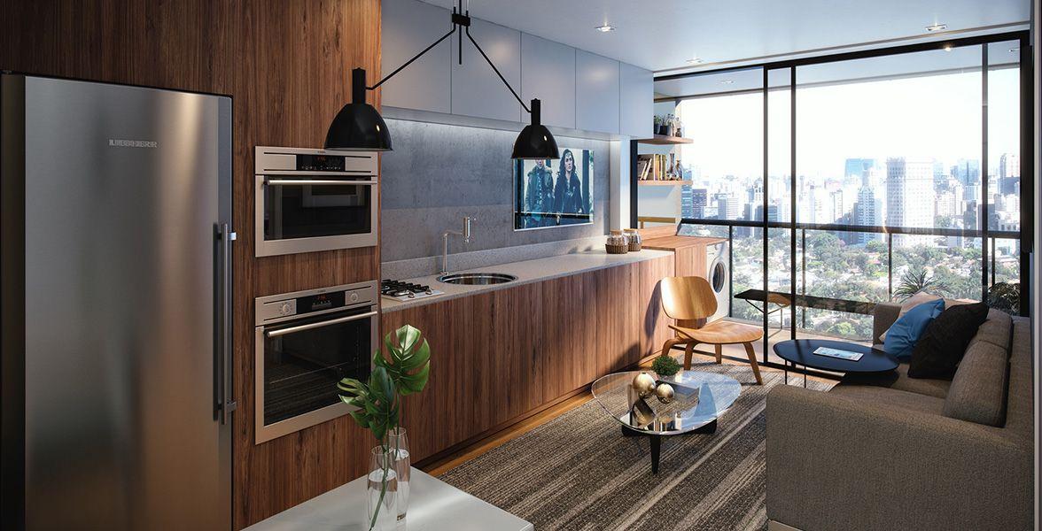 LIVING E COZINHA do apto de 39 m²