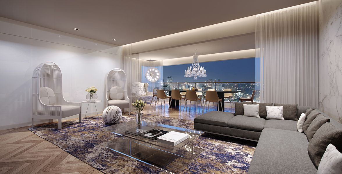 LIVING do apto de 137 m² do East Side integrado ao terraço gourmet entregue com churrasqueira e pé-direito de 2,4 metros. Será entregue com tratamento acústico para atenuação de ruídos de impacto.