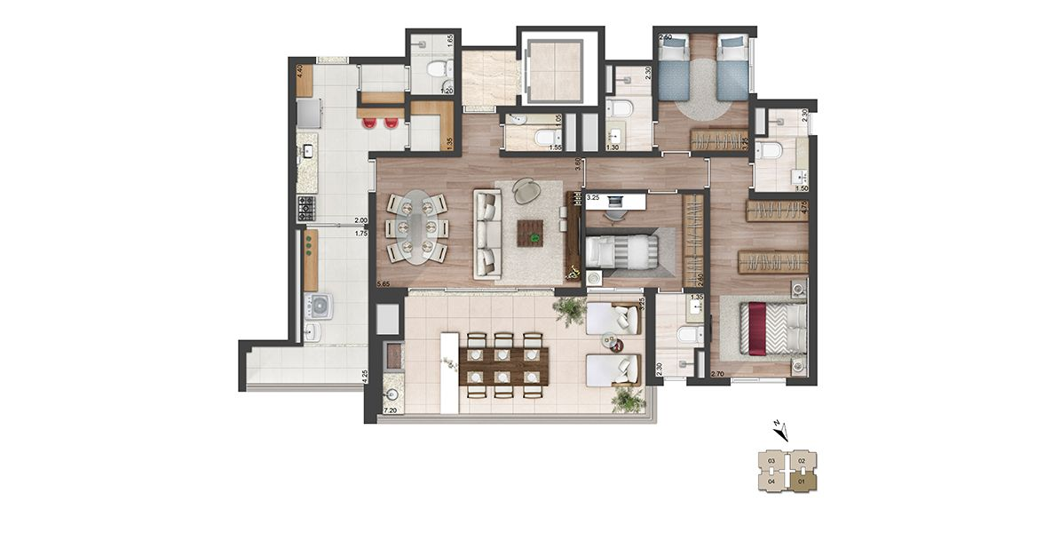 137 M² - 3 SUÍTES. Apartamento com elevador e hall privativo, que dá acesso ao amplo living c/ lavabo integrado ao terraço gourmet de mais de 7m de frente. Todas as suítes contam com infra para ar-condicionado.
