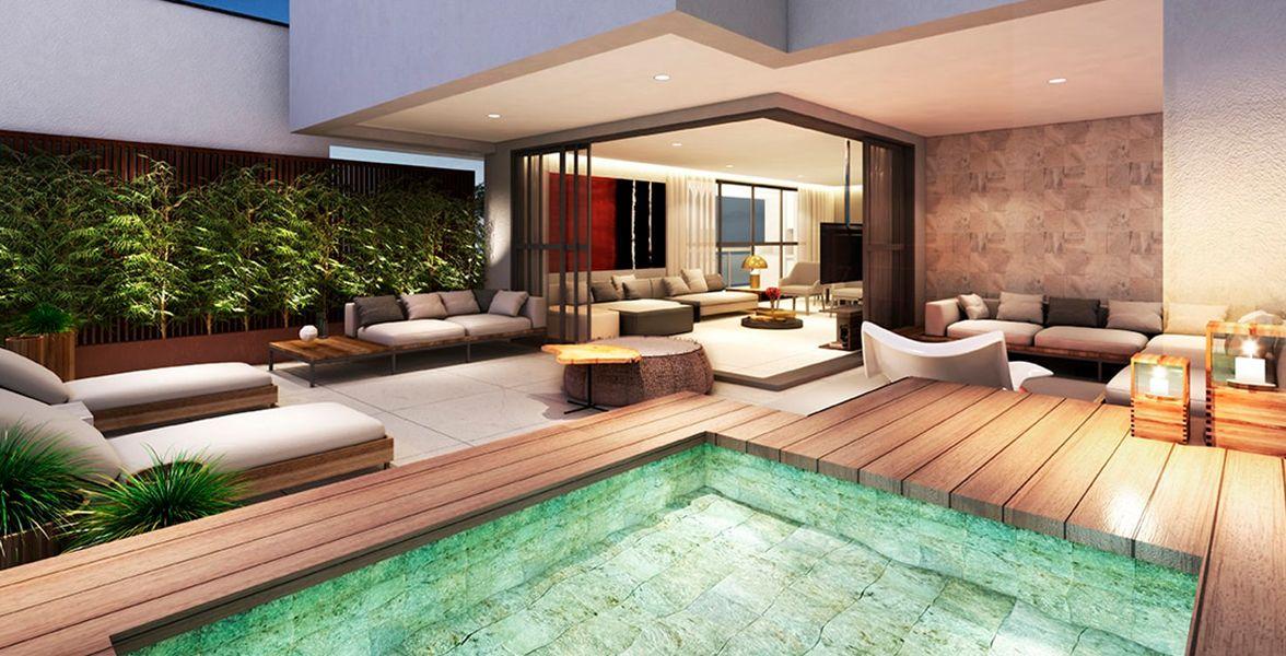 TERRAÇO do apto cobertura de 228 m² com piscina.