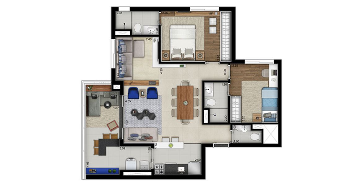 Planta do Linked. floorplan