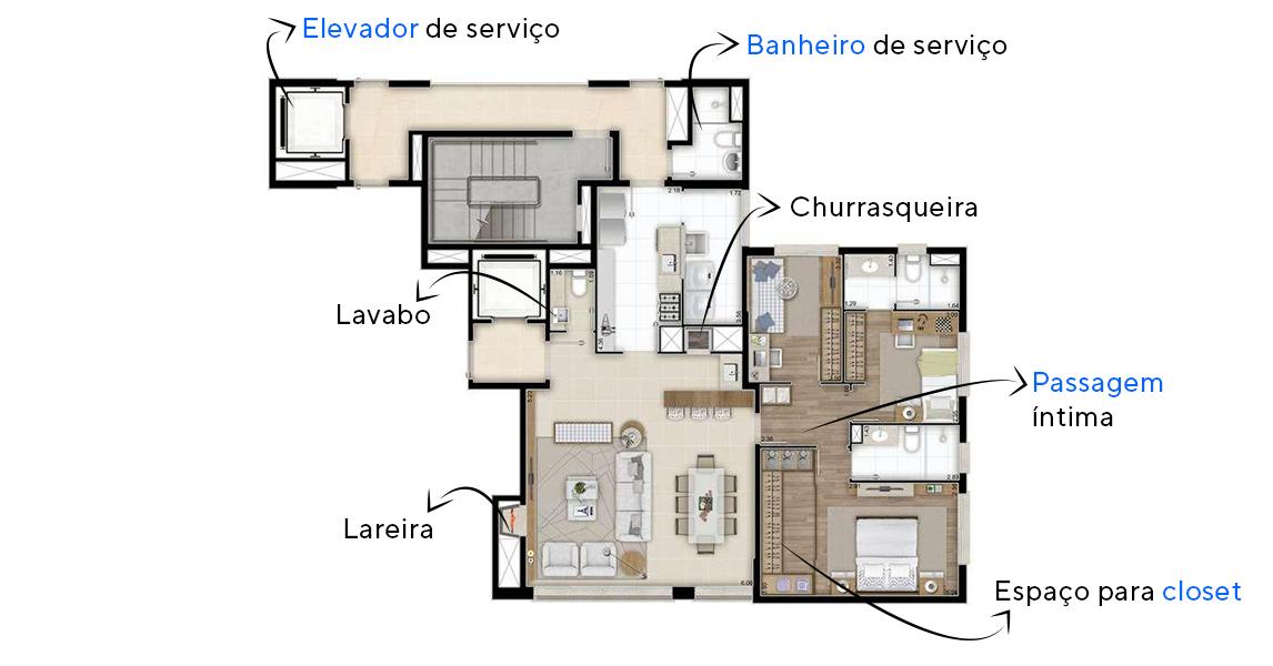 121 M² - 3 DORMITÓRIOS. Apartamento em Petrópolis com elevador e hall de serviço com service space, acesso social independente, amplo living com lareira e lavabo, espaço gourmet com churrasqueira. Destaque para suíte master com mais de 17 m².