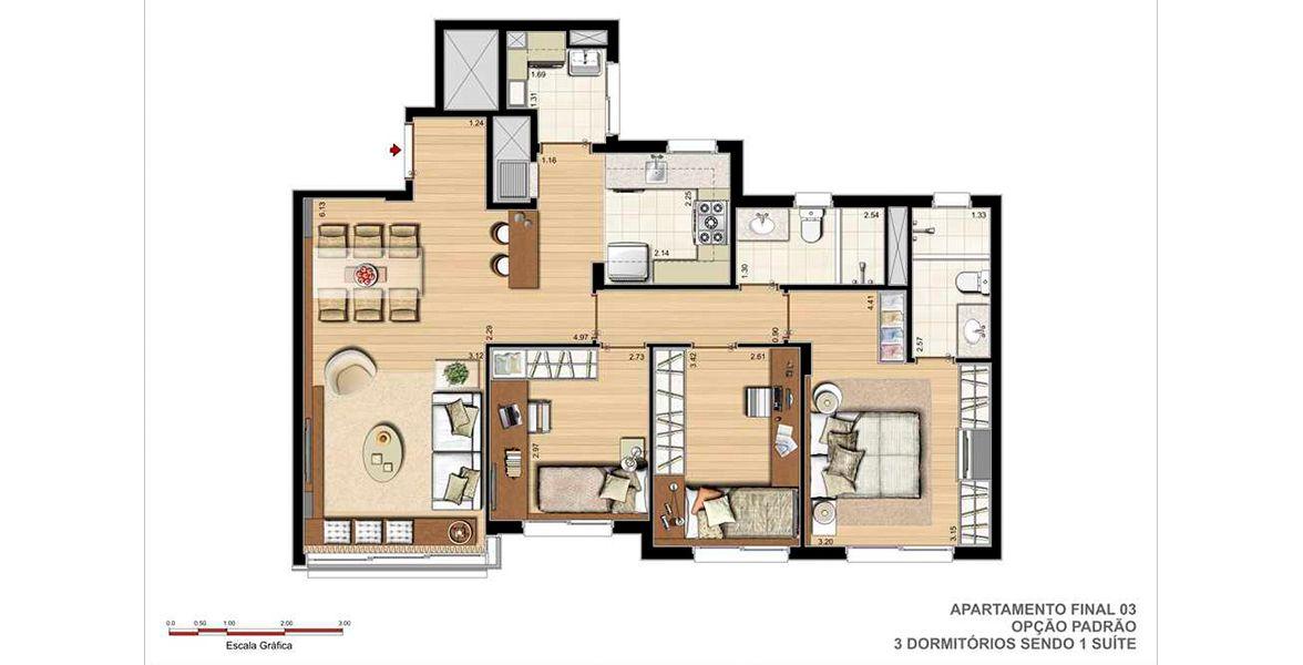 Planta do Pedra Bonita. 89 M² - 3 DORMITÓRIOS, SENDO 1 SUÍTE. Apartamento em Ipanema com ampla área social, sala de jantar e espaço gourmet com churrasqueira integrado à cozinha. Passagem íntima para os dormitórios que possuem espaço para armários e escrivaninhas.