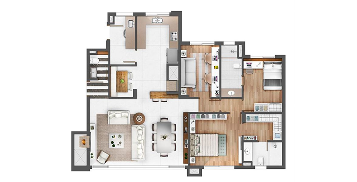 126 M² - 3 DORMITÓRIOS, SENDO 2 SUÍTES. Apartamento em Petrópolis com 2 suítes com infra para ar-condicionado e banheiro com ventilação natural. Living já entregue com churrasqueira e lareira. Passagem íntima para os quartos e gabinete.