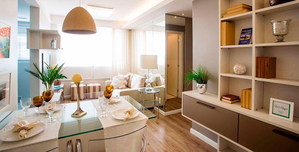 LIVING do apto decorado de 61 m²