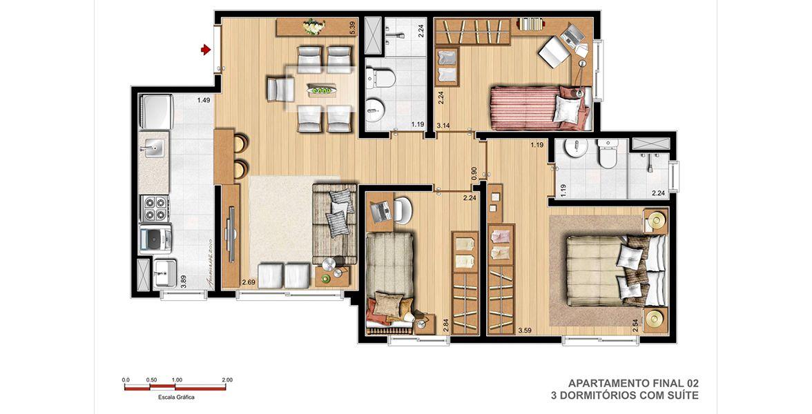 Planta do Terrabela Planalto. 60 M² - 3 DORMITÓRIOS, SENDO 1 SUÍTE. Apartamento em Petrópolis com living integrado. Destaque para os dormitórios amplos com espaço para armário e bancada.