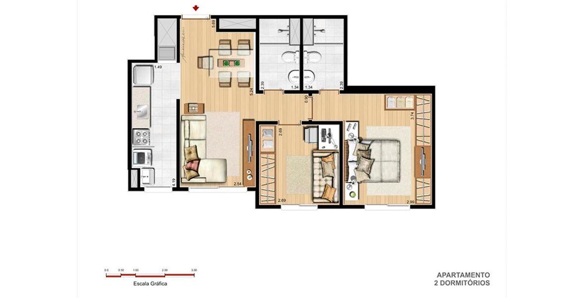 57 M² - 2 DORMITÓRIOS, SENDO 1 SUÍTE. Apartamento de 2 dormitórios em Sarandi, com living amplo com mais de 5 metros, com mesa de jantar com 5 lugares, integrado a cozinha com churrasqueira. Destaque para suíte do casal, c/ boa circulação, amplo armário.