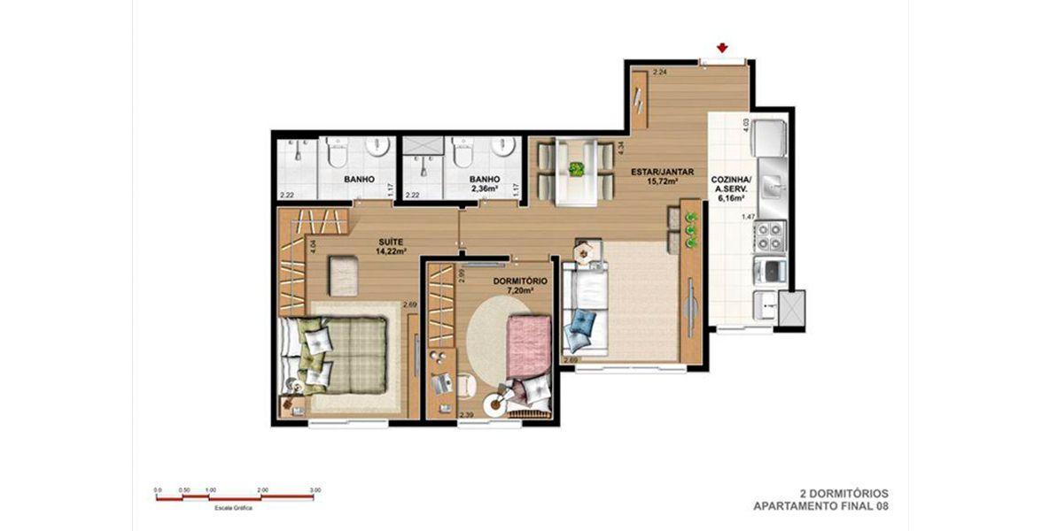 Planta do Fun Residence Club. floorplan
