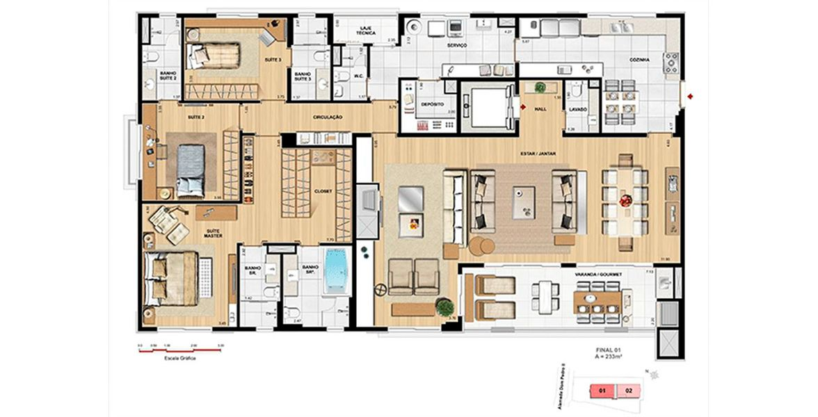 Planta do Dom Batel. floorplan