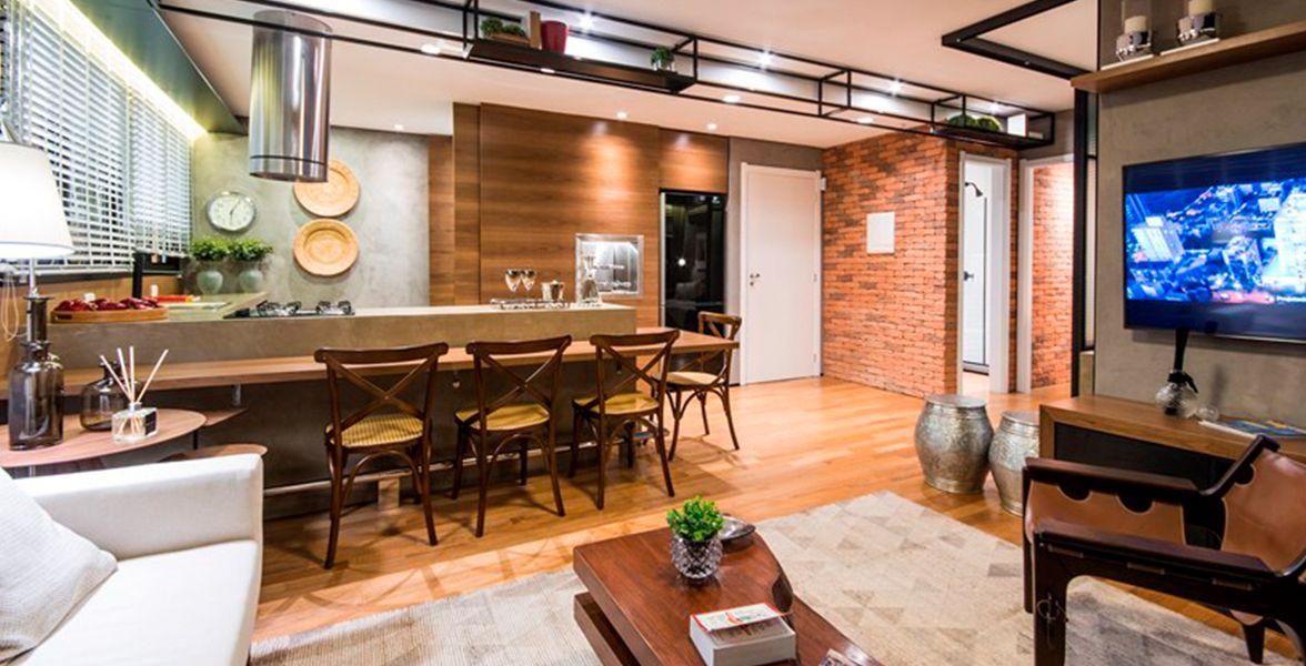 SALA INTEGRADA do apto decorado de 65 m² com cozinha americana com churrasqueira, proporcionando ampla área social do NY, 205
