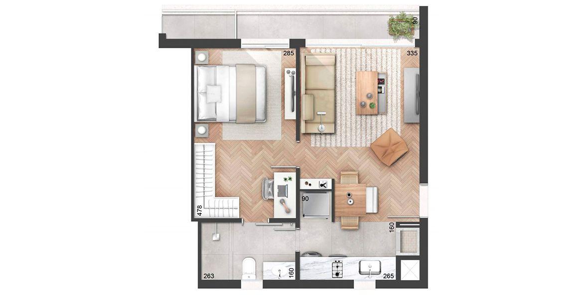 53 M² - 1 SUÍTE. Apartamento de 1 dormitório, em Auxiliadora com cozinha americana e churrasqueira integrada ao living. Destaque para a suíte ampla com espaço home office e banheiro com acesso pela cozinha e pela suíte.