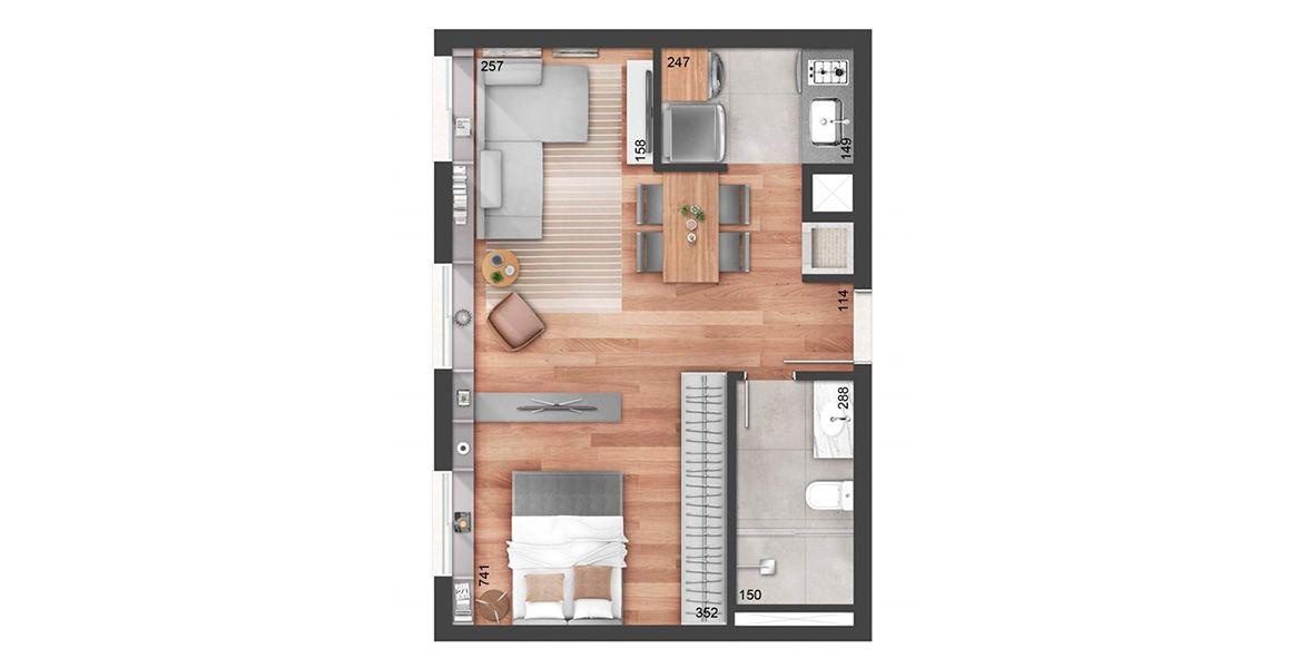 Planta do NY, 205. 43 M² - 1 DORMITÓRIO. Apartamento em Auxiliadora com cozinha americana e churrasqueira integrada ao living. Destaque para o living amplo, proporcionando boa área social.