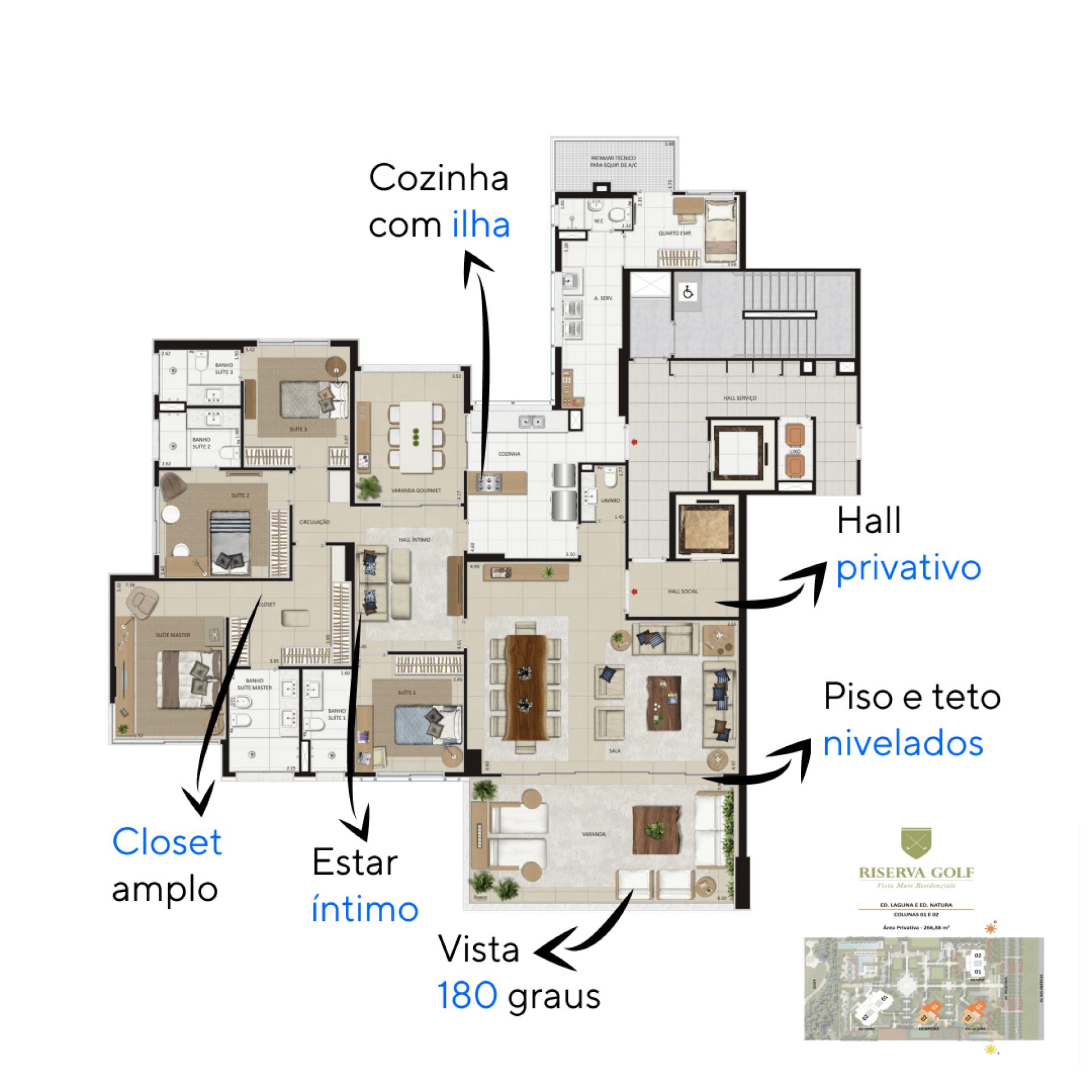 266 M² - 4 SUÍTES. Apartamentos do Riserva Golf Vista Mare Residenziale com espaços privativos, a configuração do hall íntimo como sala de estar e da varanda gourmet como sala de jantar, cria ambientes exclusivos para aproveitar os momentos em família.