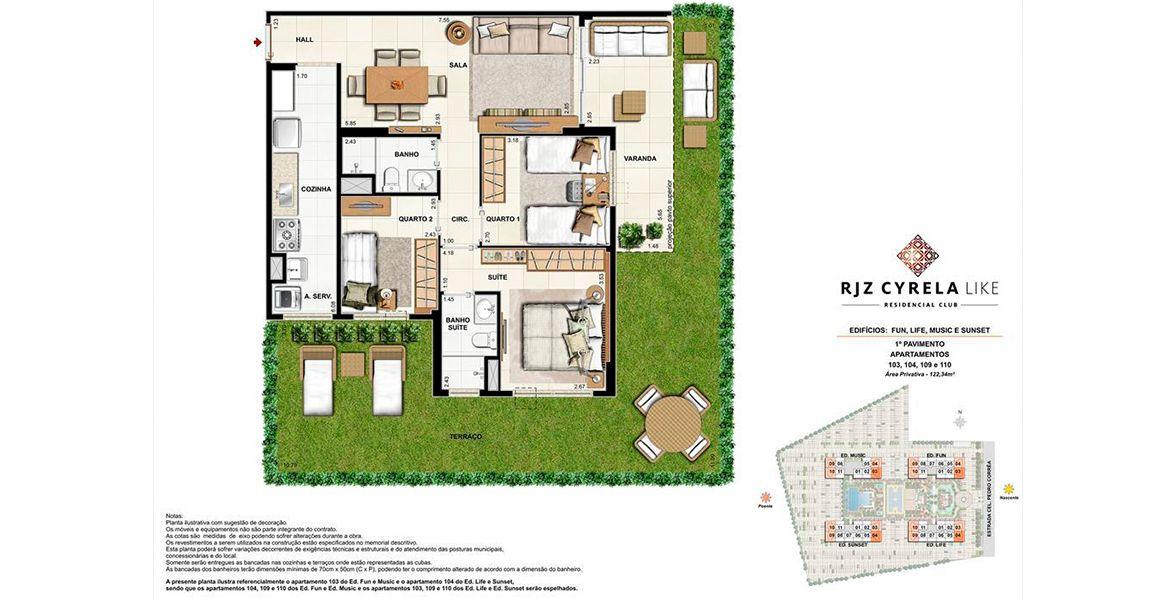 Planta do RJZ Cyrela Like Residencial Club. 103 M² - 3 QUARTOS, SENDO 1 SUÍTE. GARDEN.