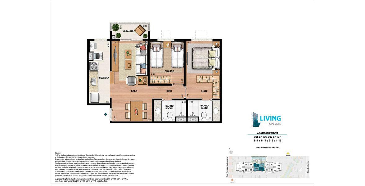 Planta do Living Special. 59 M² - 2 QUARTOS, SENDO 1 SUÍTE.