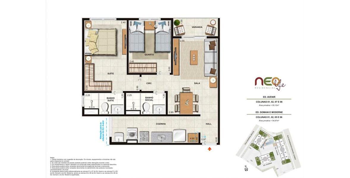 Planta do Neo Life Residencial. floorplan