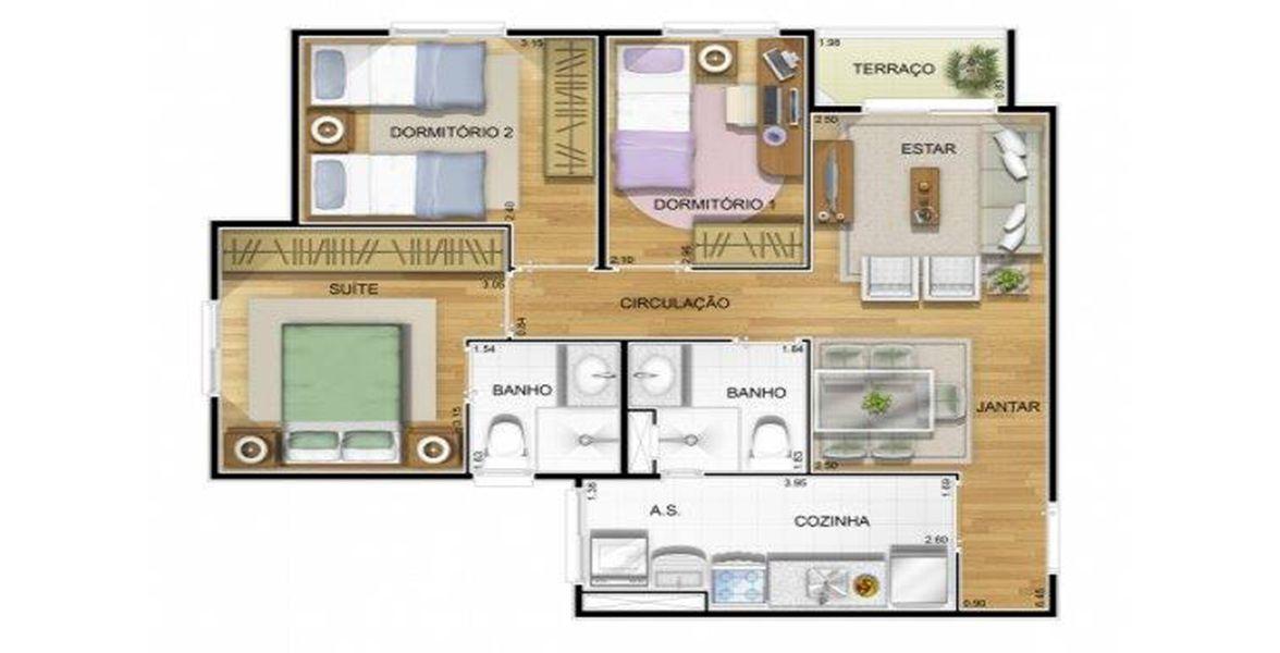 Planta do Residencial Lumini IV. floorplan