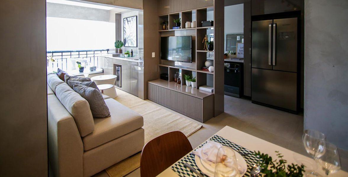 LIVING do apto de 58 m²