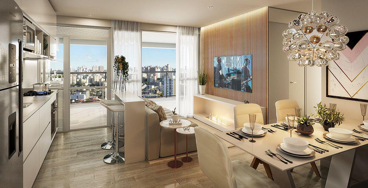 LIVING do apto de 68 m² integrado à cozinha americana e ao amplo terraço.