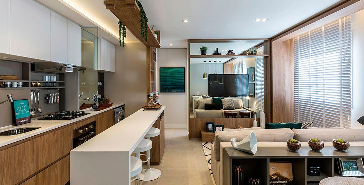 LIVING E COZINHA do apto decorado de 40 m² do Click Morumbi
