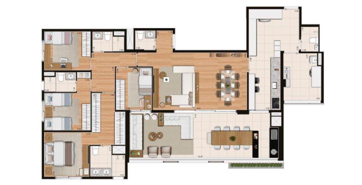 178 m² - 4 DORMITÓRIOS, SENDO 2 SUÍTES. Padrão.