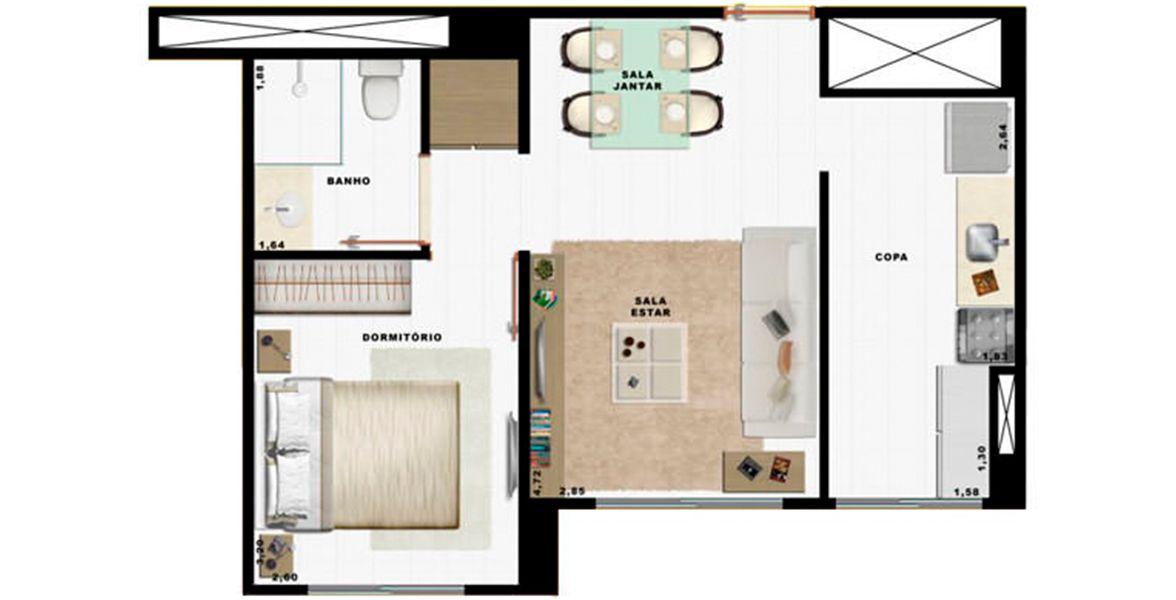 Planta do Art Life Acqua Village. floorplan