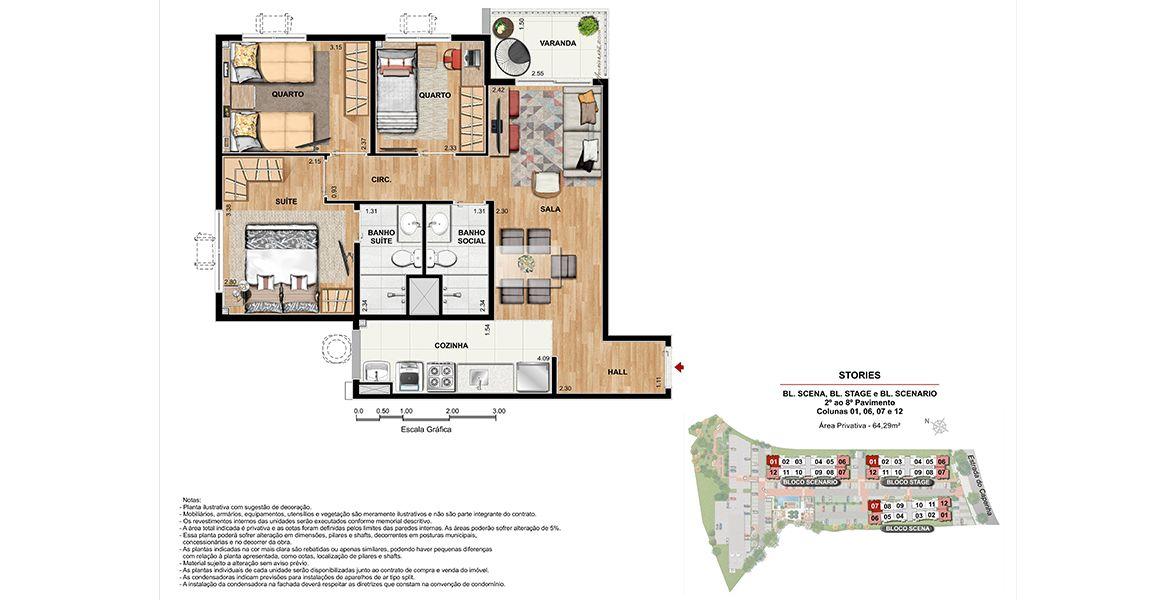 Planta do Stories Residence. 64 M² - 3 QUARTOS, SENDO 1 SUÍTE.