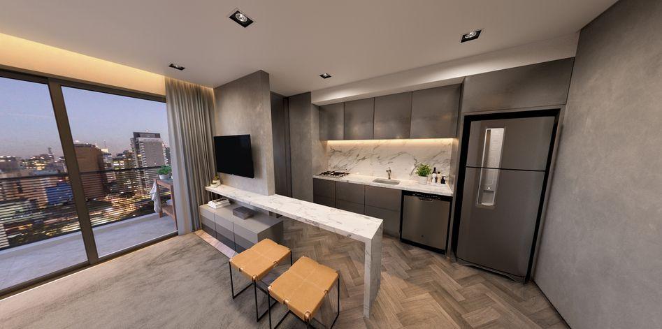 LIVING do apto de 72 m² do Urban Vila Mariana