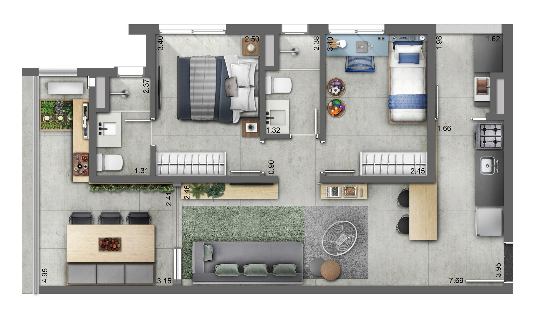 69 M² - 2 DORMITÓRIOS, SENDO 1 SUÍTE. Apartamento na Vila Mariana, com ampla integração no living, cozinha americana e terraço com área técnica e previsão para instalação de tv.  Destaque para flexibilidade da planta, sem vigas e pilares.