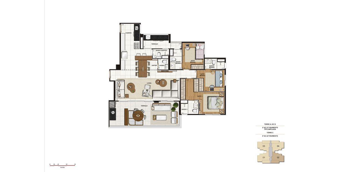 134 M² - 3 SUÍTES. Apartamentos na Vila Anastácio com amplo living integrado ao terraço, totalizando mais de 50 m² de área social. São entregues com churrasqueira, infra para ar-condicionado e caixilhos com persiana de enrolar nos dormitórios.